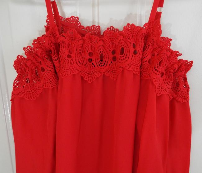 by&by Boho Crepe Eyelet Flowy Cold Shoulder Top coral Image 7
