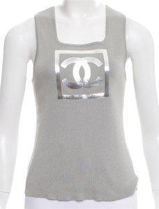 Chanel Metallic Hardware Logo Interlocking Cc Sleeveless Top Grey, Silver