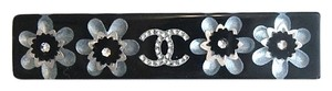 Chanel Chanel Black Hair Barrette Clear Lucite Type CC Crystal Flower