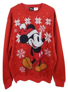 disney red white yellow black new men mickey mouse ugly christmas sweater holiday long sleeve sweatshirthoodie size 14 l tradesy