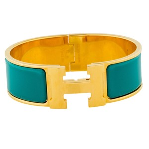 Herms 18K yellow gold-plated Hermes wide Clic Clac H bracelet PM