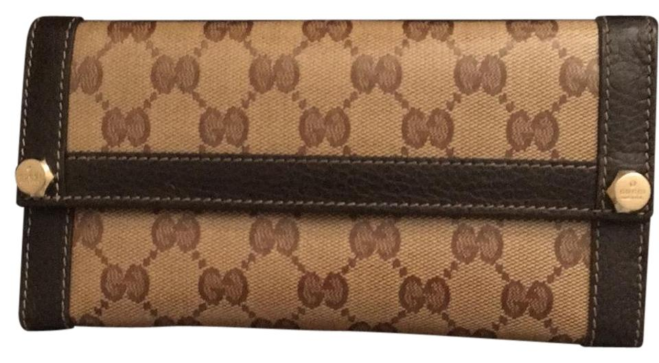 569d6da99ea Gucci Coated GG Canvas Brown Beige Crystal Continental Wallet Image 0 ...