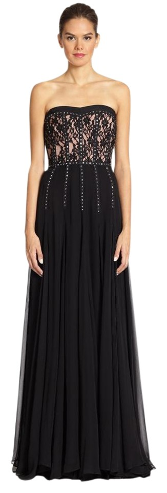 Rebecca Taylor Black Strapless Lace Studded Gown Long Formal Dress