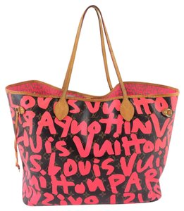 Louis Vuitton Neverfull Canvas Stephen Sprouse Tote in Brown/Pink