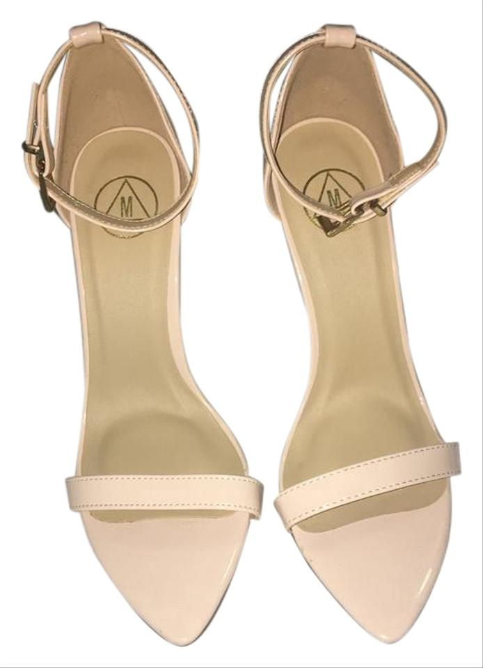 Missguided Nude Single Strap Patent Patent Patent Sandals df11c1