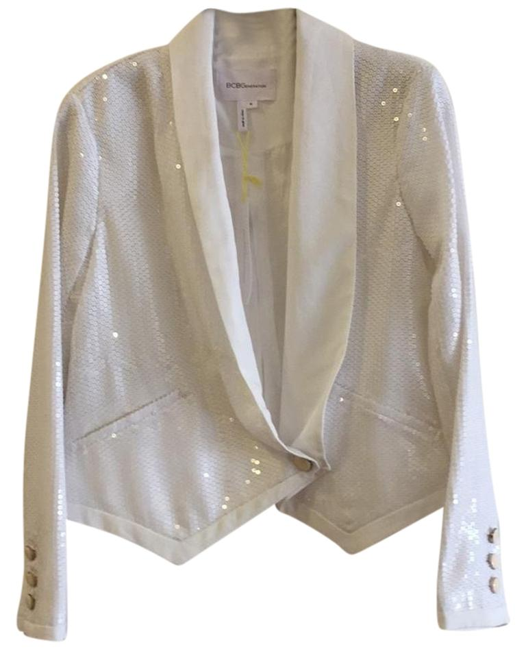 3abe5d5d BCBGeneration White Sequined Jacket Size 10 (M) - Tradesy