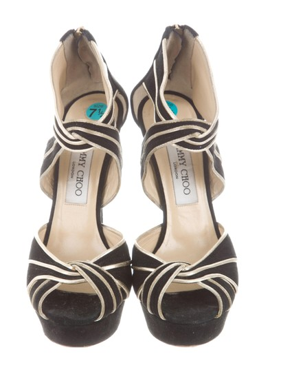 Jimmy Choo Seude Stiletto Black gold trim Sandals