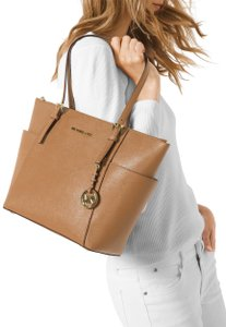 Michael Kors Jet Set Top Zip Large Saffiano Leather Tote in Acorn