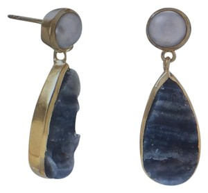 Sterling Silver 14 Karat Gold Plated Desert Druzy and Cultured FW Pearl Earrings