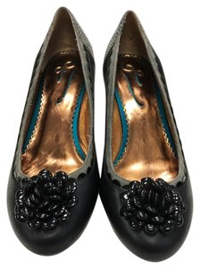 Poetic Licence Country Side Kitten Heel Embellished Black and Gray Pumps