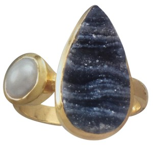 Sterling Silver 14 Karat Gold Plated Desert Druzy and Cultured Freshwater Pearl Ring