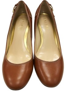 Ralph Lauren Leather Kitten Heels Brown Pumps