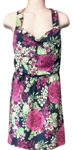 Garnet Hill short dress navy , green, fushia Zinni Sundress Summer Floral on Tradesy