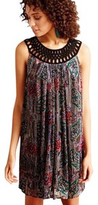 Anthropologie short dress NWT Silk Velvet Swingy Spectacular Colors So Unique on Tradesy