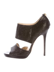 Jimmy Choo Stiletto Black Glitter Sandals