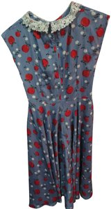 Hell Bunny short dress blue with apple print Retro Novelty on Tradesy
