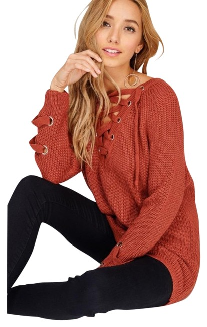 Preload https://img-static.tradesy.com/item/22306461/rust-burnt-orange-chunky-knit-tunic-new-s-m-l-lace-up-sweaterpullover-size-4-s-0-3-650-650.jpg