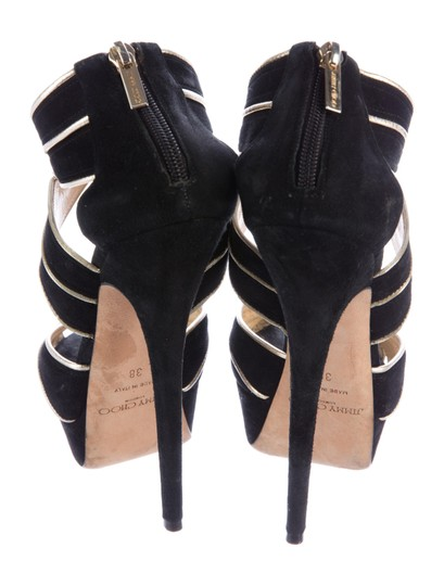Jimmy Choo Suede Stiletto Black gold trim Sandals