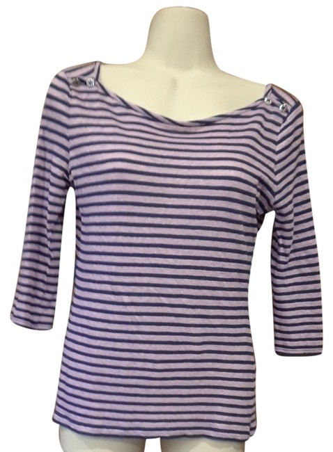 Preload https://img-static.tradesy.com/item/22306563/banana-republic-purple-striped-linen-blend-tee-shirt-size-2-xs-0-1-650-650.jpg