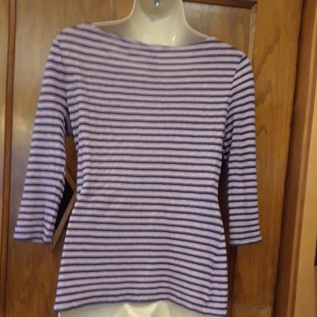 Banana Republic Striped Linen T Shirt purple