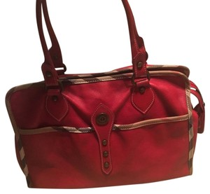 Burberry Tote in Red with Burberry trim