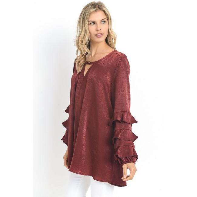 Jodifl Fall Trendy Holiday Winter Party Top Bordeaux