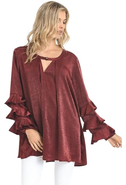Preload https://img-static.tradesy.com/item/22306646/bordeaux-ruffled-sleeve-sateen-blouse-or-sexy-mini-dress-new-tunic-size-14-l-0-1-650-650.jpg