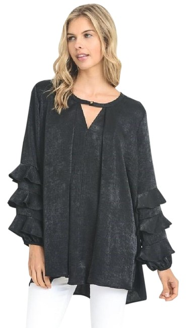 Preload https://img-static.tradesy.com/item/22306657/black-ruffled-sleeve-sateen-blouse-or-sexy-mini-dress-new-tunic-size-14-l-0-1-650-650.jpg