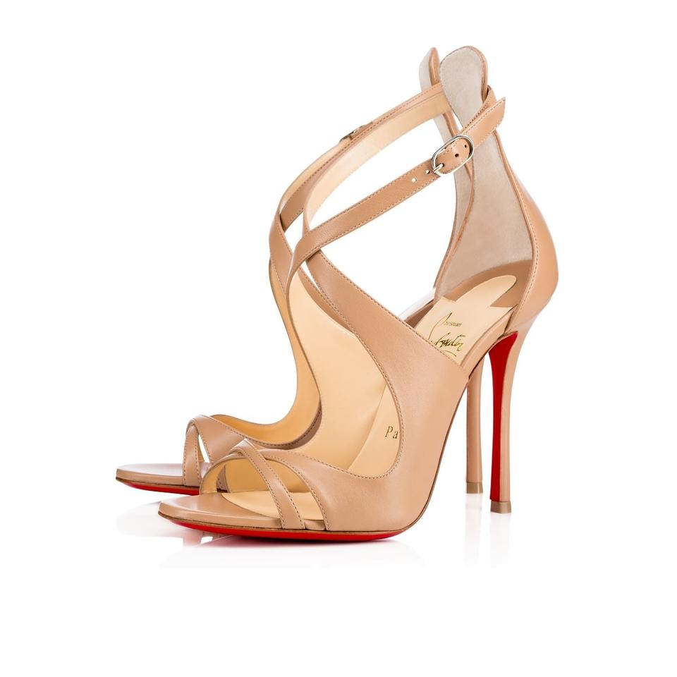 Christian Leather Louboutin Nude Malefissima Crisscross 100mm Nappa Leather Christian Heels Sz. Euro Sandals 6e3e9c