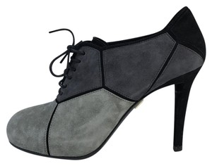Roger Vivier Round Toe Lace Pump Gray Boots