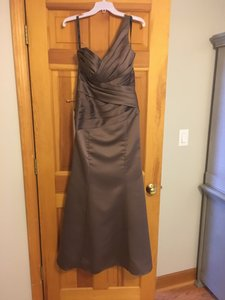 Alfred Angelo Mocha Satin 7291l Draped One Shoulder Long Formal Bridesmaid/Mob Dress Size 8 (M)