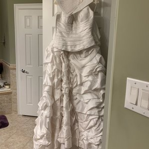 Pronovias Silver/White Satin with Taffeta Piece Feminine Wedding Dress Size 8 (M)