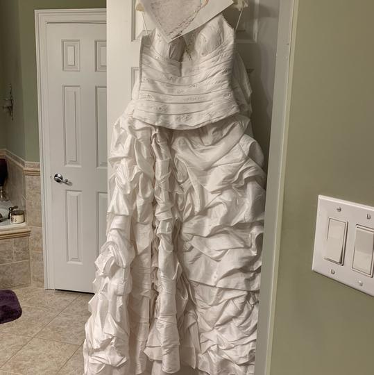 Preload https://img-static.tradesy.com/item/22306878/pronovias-silverwhite-satin-with-taffeta-piece-feminine-wedding-dress-size-8-m-0-5-540-540.jpg
