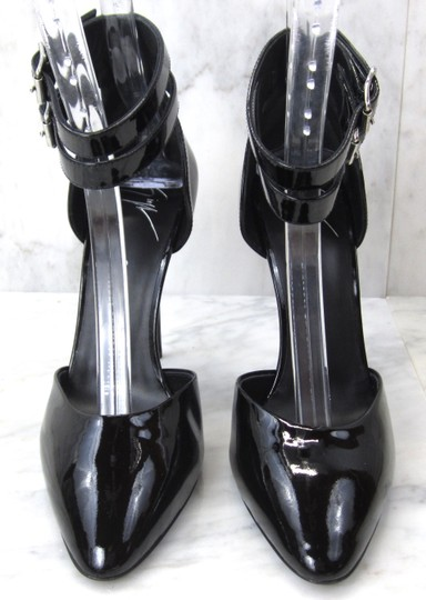 Giuseppe Zanotti Patent Leather Fetish Pointed Toe High Heels Ankle Cuff Black Pumps