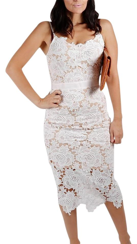 White Lace Overlay Spaghetti Strap Mid Length Cocktail Dress Size 6 S