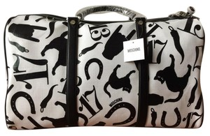 Moschino Duffle Cats Horse Shoes Black Travel Bag