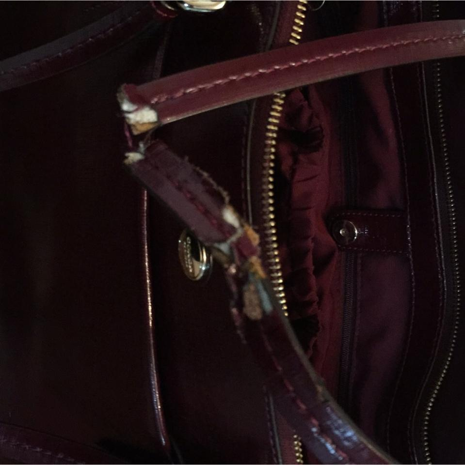 Coach Baby Bag Signature Canvas Emich Coachclearance Small Margot Carryall In F34608 Maroon Diaper
