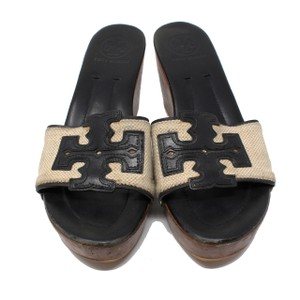 Tory Burch Miller Eddie Caroline Elastic Chanel Black and Cream Wedges