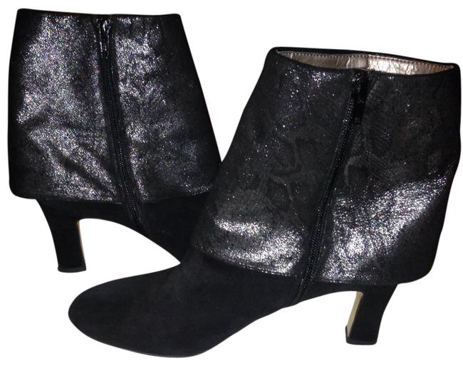 Item - Black & Pewter Spat Covered Ankle Boots/Booties Size US 10 Regular (M, B)