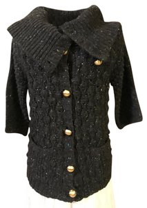 Juicy Couture 3/4 Length Sleeve Botton Down Fold Over Neck Cable Knit Cardigan