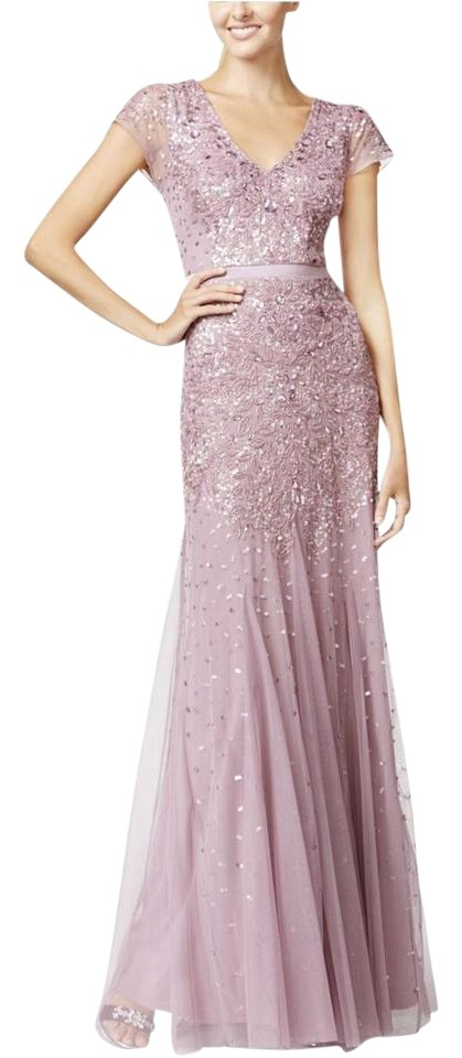 6423b723d69e Adrianna Papell Dusty Rose New Womens Purple V-neck Embellished Cap Sleeve  Gown Formal Dress