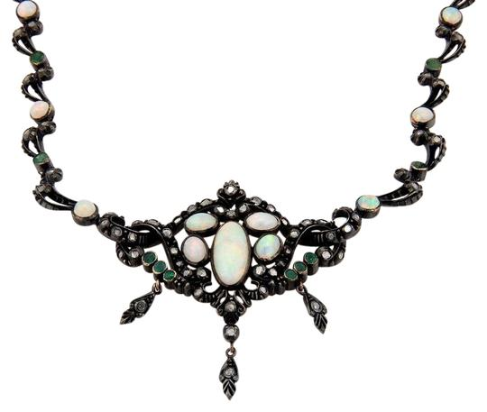 Preload https://img-static.tradesy.com/item/22307594/darkened-silver-victorian-14k-yg-opal-diamond-emerald-dangle-pendant-necklace-0-1-540-540.jpg