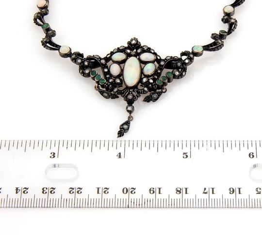 None Victorian Silver & 14K YG Opal Diamond Emerald Dangle Pendant Necklace