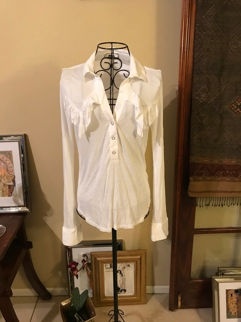 Nightcap Western V Neck Button Front Deep V Neck Top White