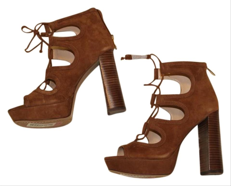 30f070eae5a Vince Camuto Tan Brown Kamaye Ghillie Laceup Platform Sandals Size ...