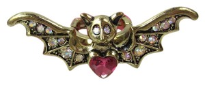 Betsey Johnson CREEPY CRITTER Boost Antique Gold Bat Wings Stretch Crystal Ring