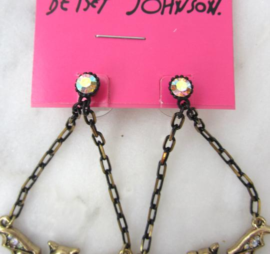 Betsey Johnson CREEPY CRITTER Vampire Bat Chandelier Dangle Crystal Earrings NWT