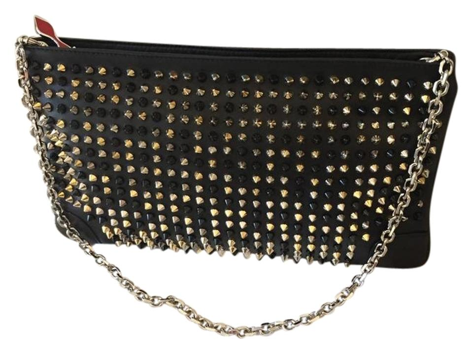444d85244ba1 Christian Louboutin Loubiposh Black with Mixed Metal Spikes Leather Clutch
