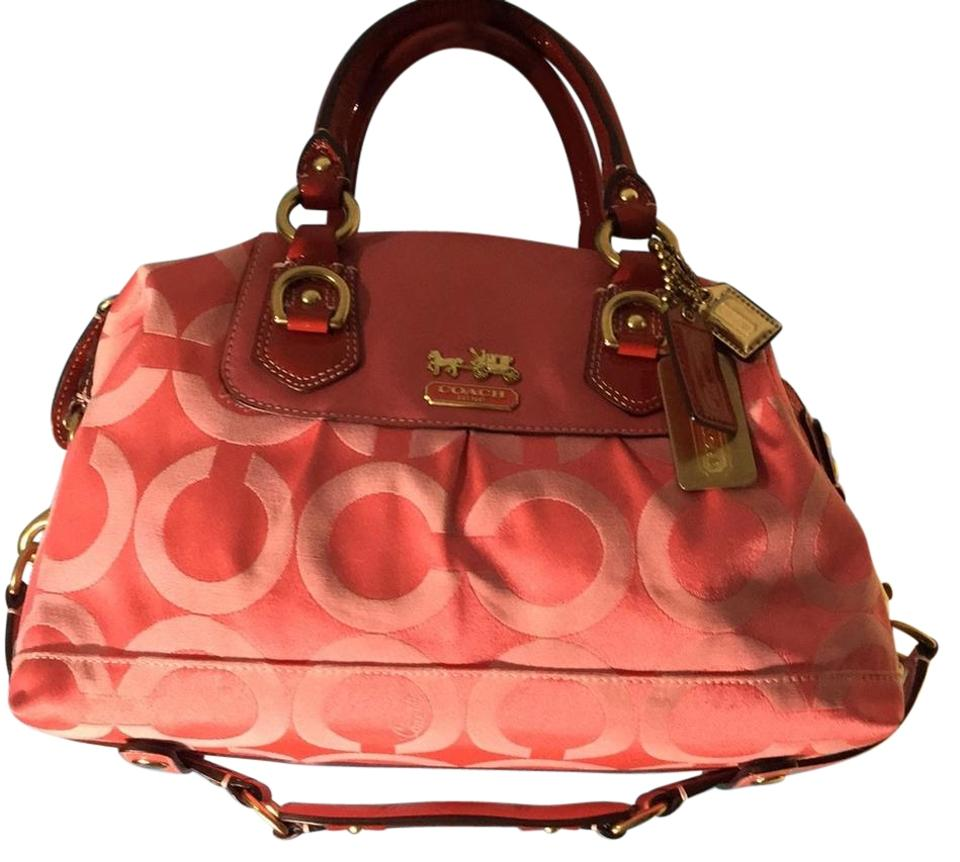 Coach Madison Sabrina Convertible Strap Coral Pink with Red Fabric ... 91f5b0cac979d