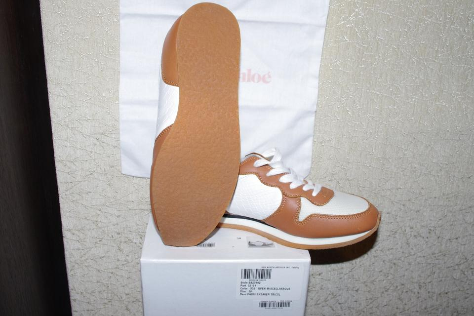 53a2fe0f3cd90 See by Chloé White Beige Leather Sneakers Brown Women Sneakers Size ...